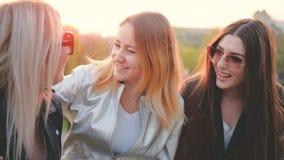 De la tarde muchachas hacia fuera que tienen parque de la conversación de la diversión almacen de metraje de vídeo