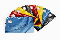 De la tarjeta de crédito aventada hacia fuera Fotografía de archivo libre de regalías