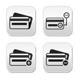 De la tarjeta de crédito, CVV botones del código fijados Imagen de archivo