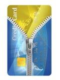 De la tarjeta de crédito desabrochada