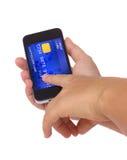 De la tarjeta de crédito en teléfono ilustración del vector