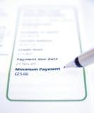 De la tarjeta de crédito: pago mínimo. Imagenes de archivo