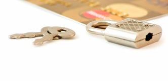 De la tarjeta de crédito y bloqueo Fotografía de archivo libre de regalías