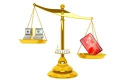 De la tarjeta de crédito y dólares con la escala Foto de archivo libre de regalías