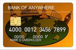 De la tarjeta de crédito con la correspondencia de mundo Imágenes de archivo libres de regalías