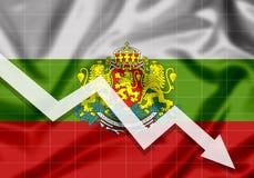 De la UE Bulgaria de la bandera flecha abajo, el concepto de fracasos Fotografía de archivo libre de regalías