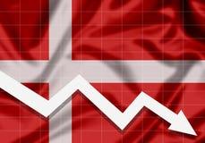 De la UE Dinamarca de la bandera flecha abajo, el concepto de fracasos Imágenes de archivo libres de regalías