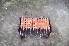 De la viande est faite frire sur des brochettes sur des charbons dans un brasero Photos libres de droits