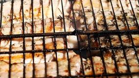 De la viande juteuse est faite frire dans un trellis sur le feu banque de vidéos