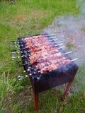 De la viande marinée est faite cuire sur des charbons photos libres de droits