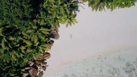 de la visión aérea 4k de la vertical del levantar cantidad de la muchacha que pone en una playa blanca de la arena rodeada por  metrajes