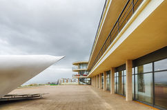 De la Warr pavilion. Closeup of the grade 1 modernist listed building in Bexhill on Sea, East Sussex called 'De la Warr Pavilion'  built in 1935 showing columns Stock Photography