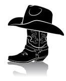 De laars van de cowboy en westelijke hoed. Zwarte grafisch Stock Afbeeldingen