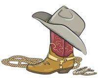 De laars van de cowboy met westelijke die hoed op wit wordt geïsoleerdm royalty-vrije illustratie