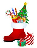 De laars van Kerstmis met giften vector illustratie