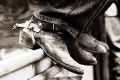 De Laarzen & de Aansporingen van de rodeo (BW) royalty-vrije stock foto's