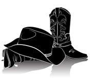 De laarzen en de hoed van de cowboy. Vector grungeachtergrond   stock illustratie