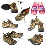 De laarzen en de pantoffels van de wandeling Stock Fotografie