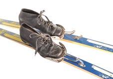 De laarzen en de skis van de ski Stock Afbeeldingen