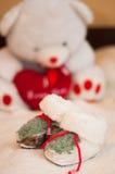 De laarzen en de teddybeer van het kind Stock Foto's