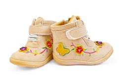 De laarzen van beige Kinderen Stock Afbeelding