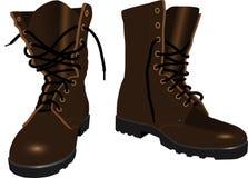 De laarzen van bruine mensen Stock Afbeeldingen