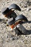 De laarzen van de cowboy die in vuil worden begraven stock afbeelding