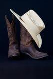 De laarzen van de cowboy en het stilleven van de cowboyhoed Royalty-vrije Stock Foto