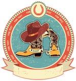 De laarzen van de cowboy en hoedenetiket Stock Foto's