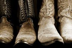 De Laarzen van de cowboy in het Hoge Licht van het Contrast Stock Fotografie
