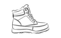 De laarzen van de mensenwinter op witte achtergrond vector illustratie