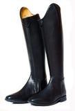 De laarzen van de paardrijdendressuur die op wit worden geïsoleerd Stock Foto's