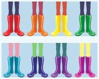 De laarzen van de regenboog Stock Afbeeldingen