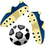 De laarzen van de voetbal met bal Royalty-vrije Stock Afbeelding
