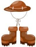 De laarzen van de wandeling met hoed Stock Afbeelding