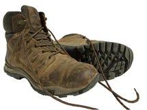 De Laarzen van de wandeling op Geïsoleerdea Witte Achtergrond Stock Afbeeldingen