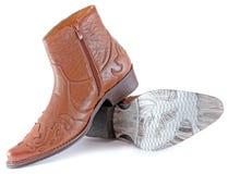 De Laarzen van het leer Stock Foto's