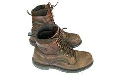 De laarzen van oude bruine leermensen royalty-vrije stock foto