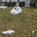 De Laatste Sneeuwman van het seizoen royalty-vrije stock afbeelding