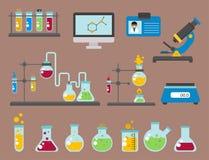 De laboratoriumsymbolen testen medische van de het ontwerpbiotechnologie van de laboratorium wetenschappelijke biologie van de de vector illustratie