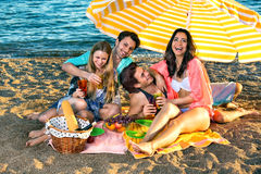 De lachende vrienden hebben picknick op het strand Stock Foto's