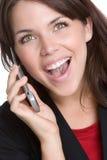 De lachende Vrouw van de Telefoon royalty-vrije stock foto's