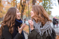 De lachende vrouwen die in de herfst spreken parkeren Stock Afbeeldingen
