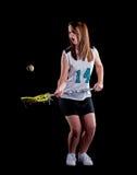 De Lacrosse van meisjes die op zwarte achtergrond wordt geïsoleerda Royalty-vrije Stock Fotografie
