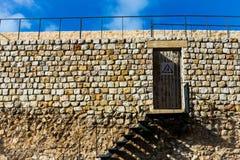 De ladder die tot a leiden trellised deur Stock Foto