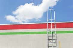 De ladder van het veiligheidsmetaal aan het dak royalty-vrije stock foto