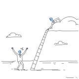De Laddertreden van zakenmanon cloud hold op Team Cooperation Concept Doodle Te beklimmen stock illustratie