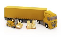 De lader laadt de pakketten in de vrachtwagen. Stock Foto