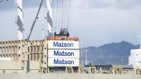 De lading van KAUAI van het MatsonVrachtschip bij de Haven van Oakland stock afbeeldingen