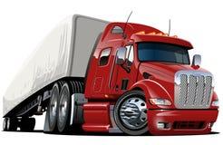 De ladings semi vrachtwagen van het beeldverhaal Stock Foto